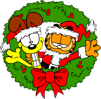 Garfield and Odie in a wreath